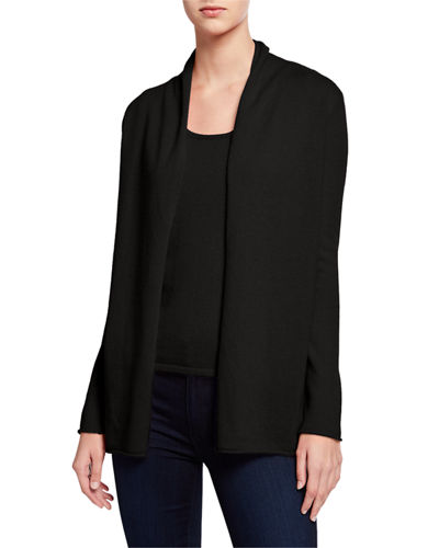 Plus Size Open-Front Long-Sleeve Cashmere Cardigan