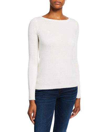 Bateau-Neck Long-Sleeve Classic Cashmere Sweater