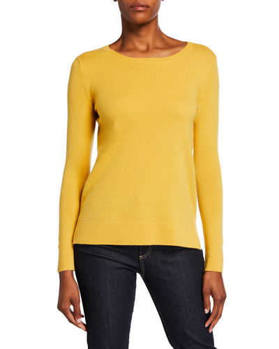 Neiman Marcus Cashmere Collection Modern Crewneck Long-Sleeve Cashmere Sweater
