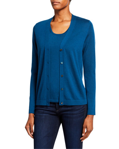 Superfine Cashmere Button-Front Cardigan