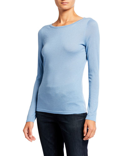 Boat-Neck Long-Sleeve Superfine Cashmere Sweater