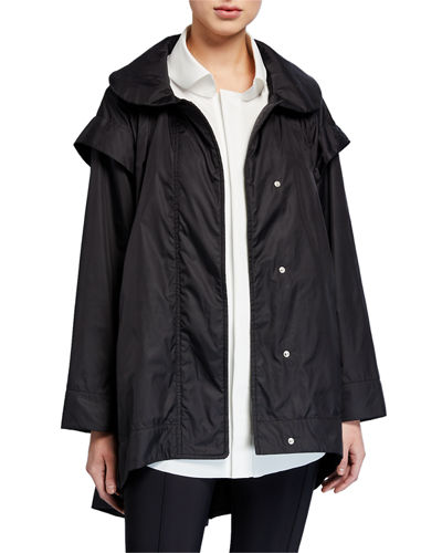Mantellina Button-Front High-Low Jacket