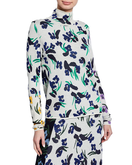 Christian Wijnants Klara Floral-Print Turtleneck Sweater