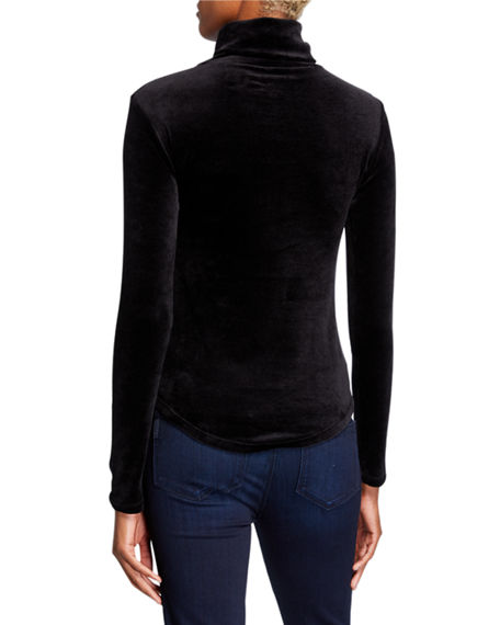 Image 2 of 2: Majestic Filatures Velour Long-Sleeve Turtleneck Top