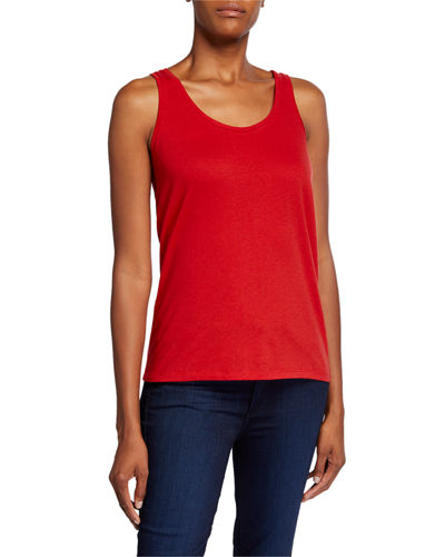 Cotton/Cashmere Scoop-Neck Tank Top