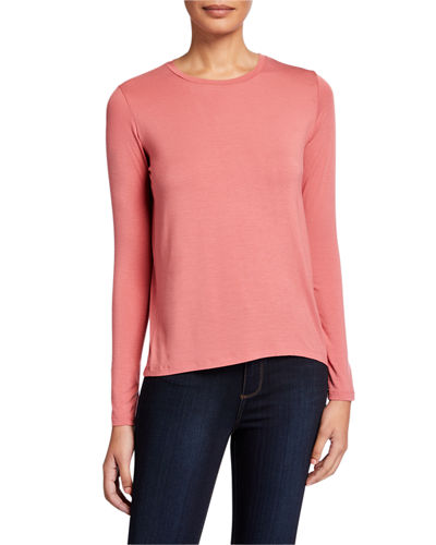 Crewneck Long-Sleeve Pleated-Back Tee