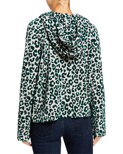 Majestic Paris for Neiman Marcus Velour Leopard Zip-Front Hoodie Jacket