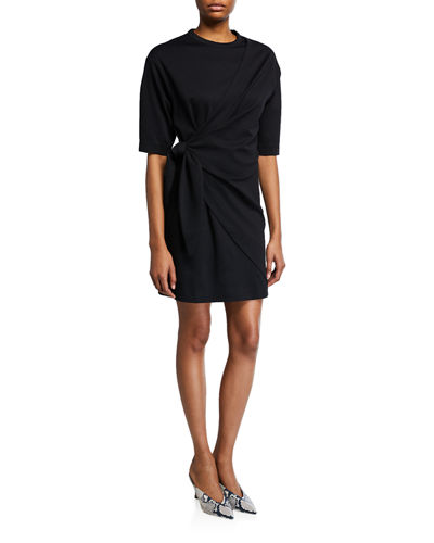 Victoria Victoria Beckham Crewneck Elbow-Sleeve Tie-Front Dress