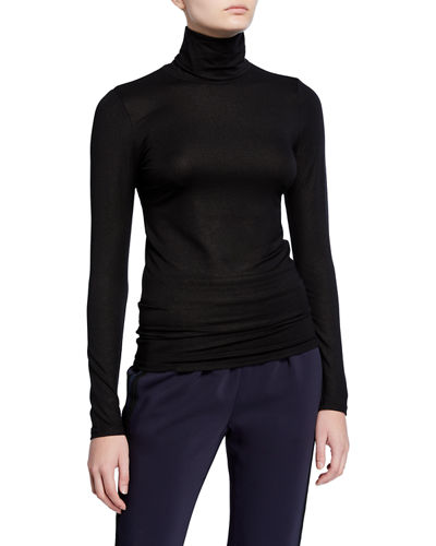 Metallic Turtleneck Long-Sleeve Tee