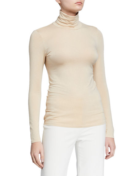 Majestic Filatures Metallic Turtleneck Long-Sleeve Tee