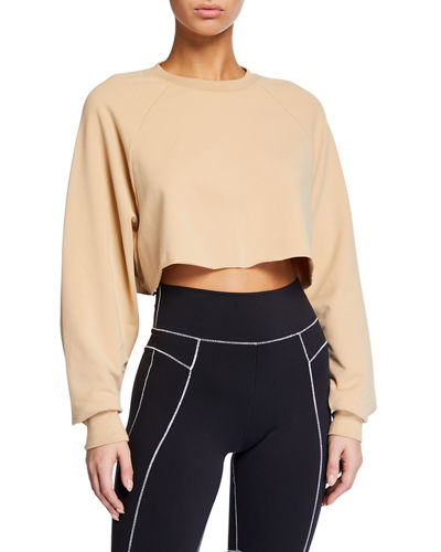 Double Take Raglan-Sleeve Cropped Sweatshirt