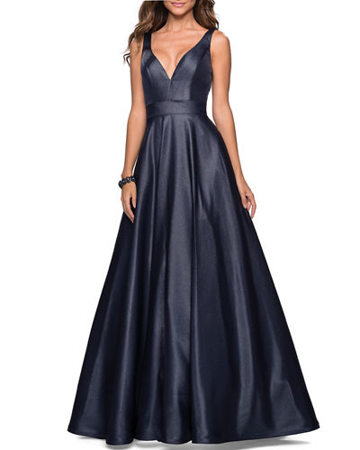 La Femme V-Neck Sleeveless Ball Gown