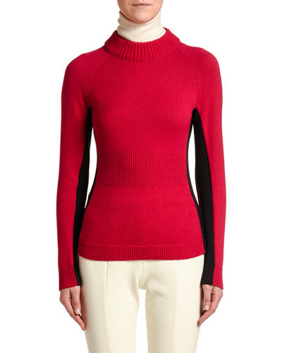 Colorblock Knitted Turtleneck Sweater
