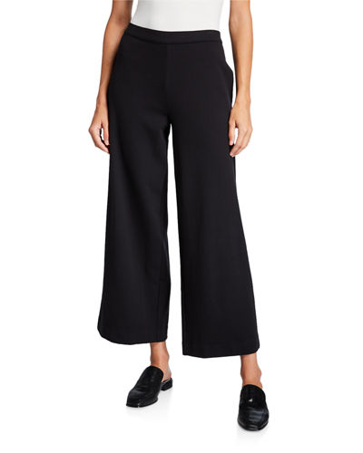 Joan Vass Wide-Leg Crop Pants with Pockets