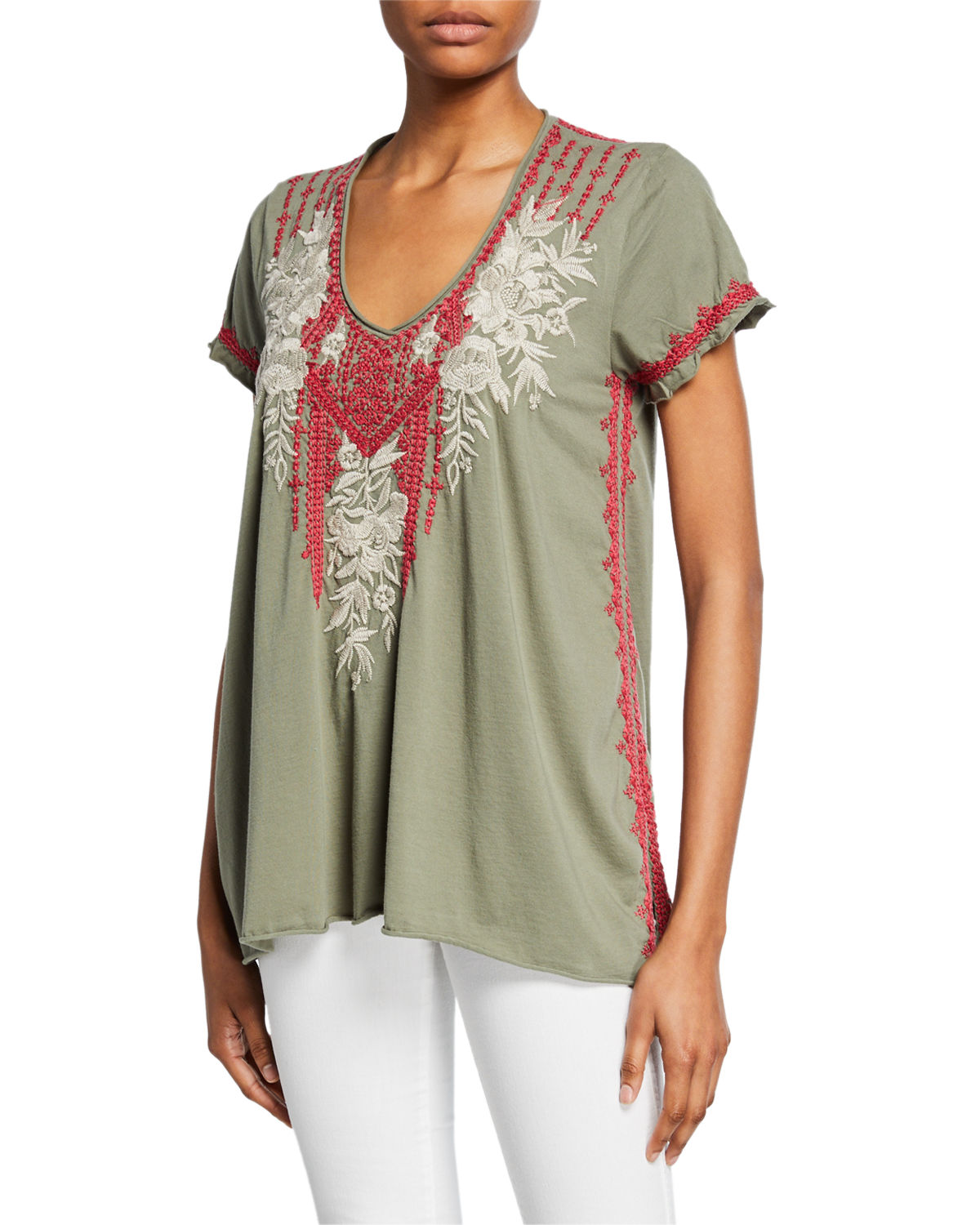Johnny Was Shorts CAMILLE EMBROIDERED DRAPE V-NECK SHORT-SLEEVE COTTON TOP