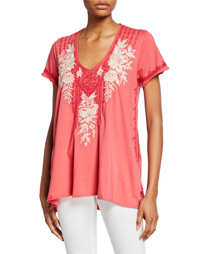 Camille Embroidered Drape V-Neck Short-Sleeve Cotton Top