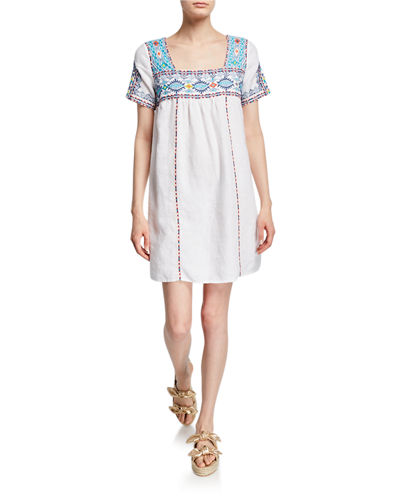 Amaris Tulum Square-Neck Short-Sleeve Linen Shift Dress