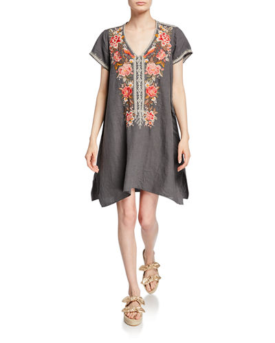 6aac7be8fc Quick Look. Johnny Was · Plus Size Paola Floral Embroidered Short-Sleeve  Draped Linen Tunic Dress