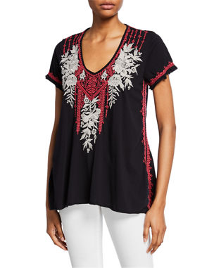 07098dc27548b2 Johnny Was Plus Size Camille Embroidered Drape V-Neck Short-Sleeve Cotton  Top