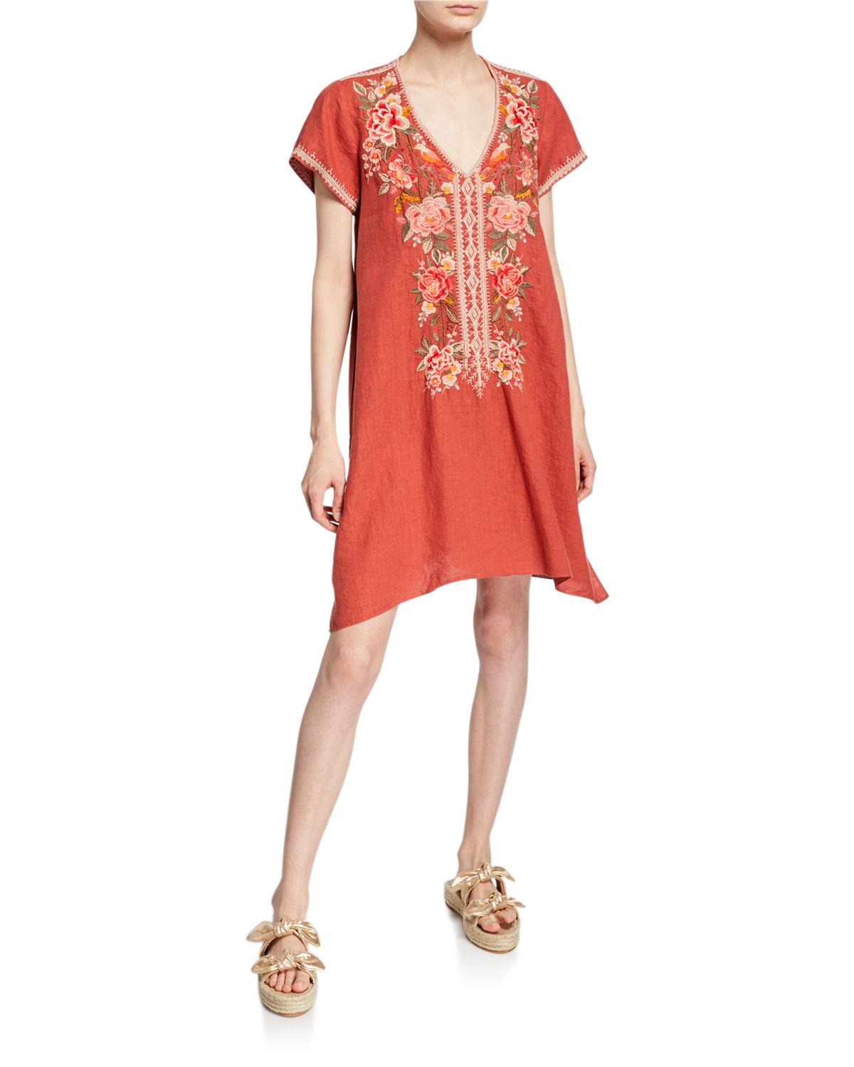 Johnny Was Dresses PAOLA FLORAL EMBROIDERED SHORT-SLEEVE DRAPED LINEN TUNIC DRESS