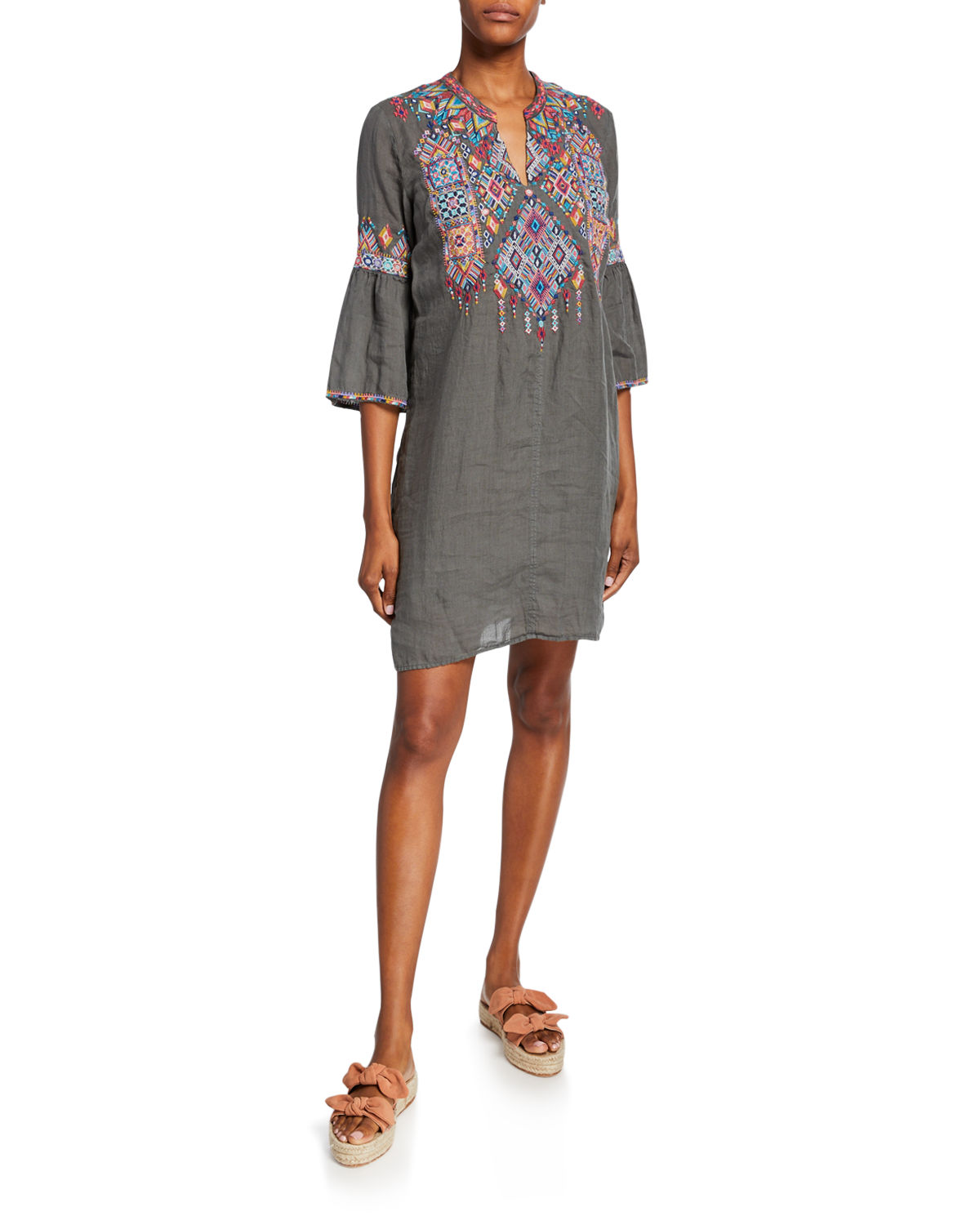 Johnny Was Dresses PLUS SIZE SHANKARA EMBROIDERED FLARE-SLEEVE LINEN TUNIC DRESS