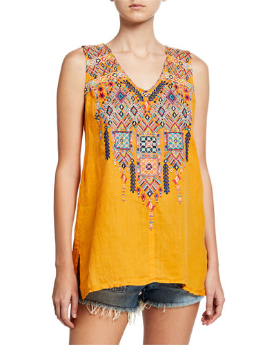 Shankara Embroidered V-Neck Handkerchief Linen Tank