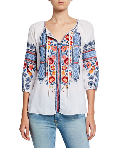 Dani Embroidered Split-Neck 3/4-Sleeve Linen Peasant Blouse