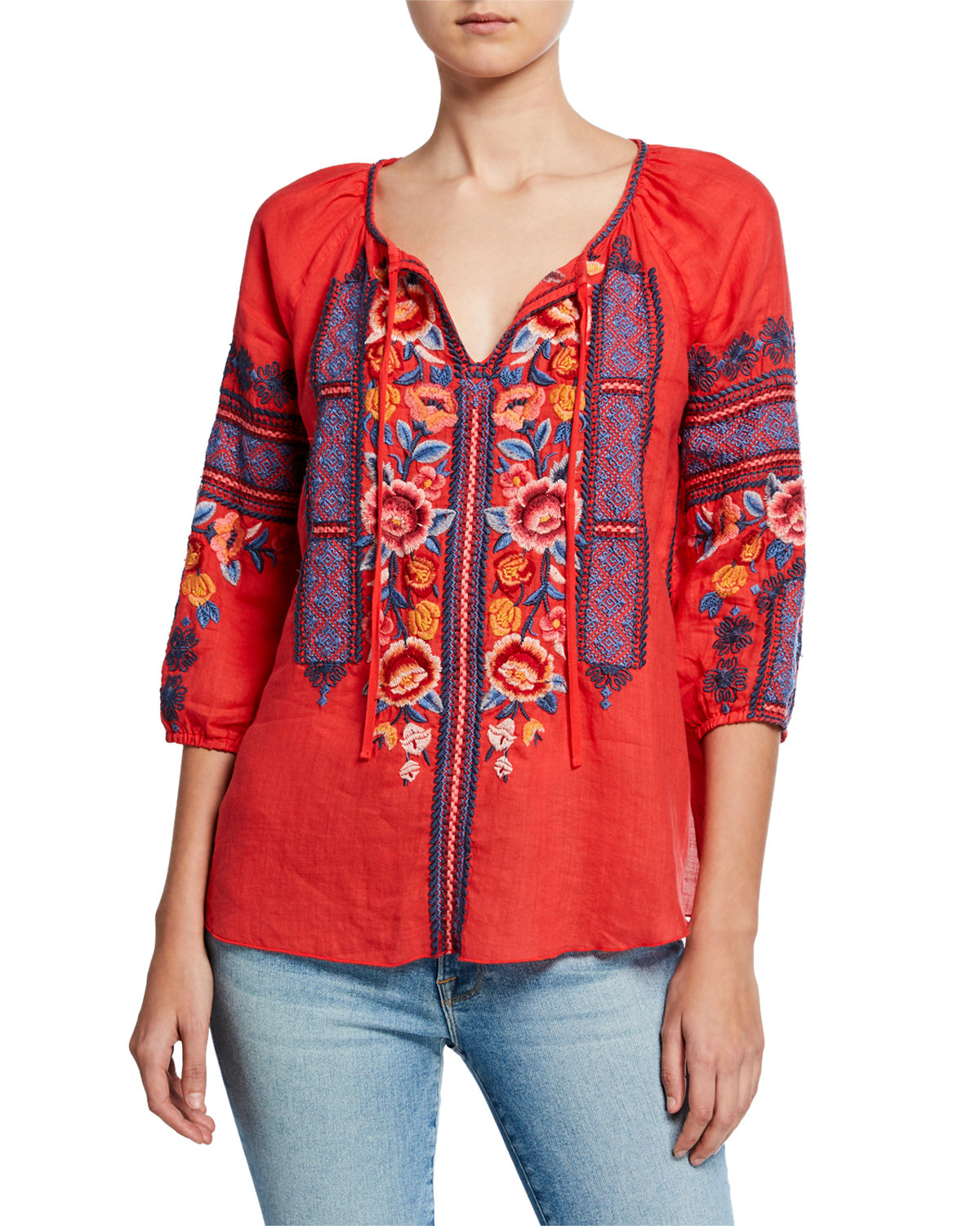 Johnny Was Tops DANI EMBROIDERED SPLIT-NECK 3/4-SLEEVE LINEN PEASANT BLOUSE