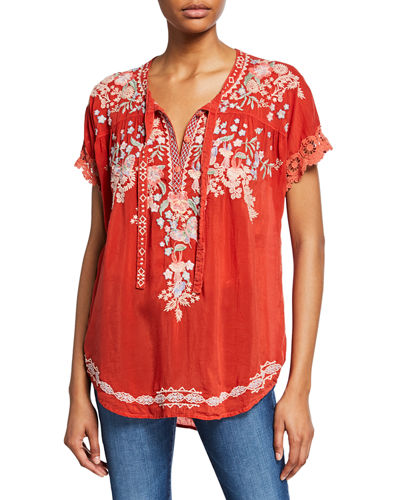 Avril Floral Embroidered Short-Sleeve Georgette Blouse