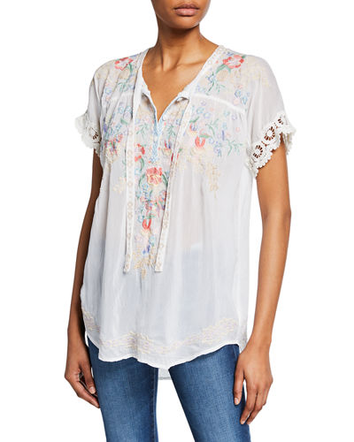 Plus Size Avril Floral Embroidered Short-Sleeve Georgette Blouse