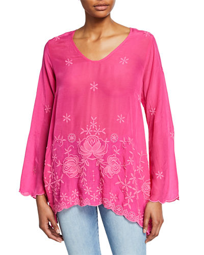 Plus Size Rose Embroidered V-Neck Flute-Sleeve Georgette Blouse