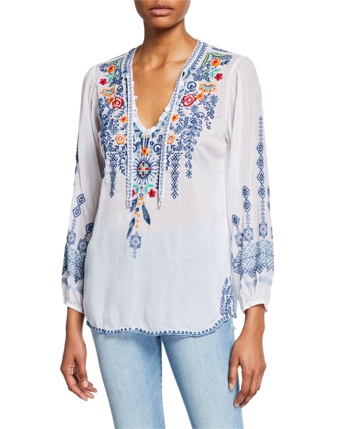 Johnny Was Tops PLUS SIZE CHELSEE EMBROIDERED V-NECK LONG-SLEEVE GEORGETTE BLOUSE