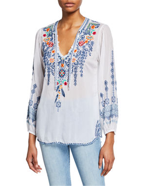 6b3c020e2fd8f9 Johnny Was Plus Size Chelsee Embroidered V-Neck Long-Sleeve Georgette Blouse