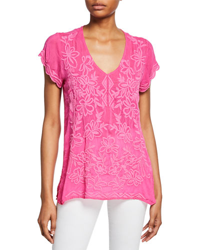 Plus Size Burke V-Neck Short-Sleeve Rayon Georgette Top