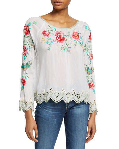 Reena Floral Embroidered Long-Sleeve Scallop Hem Georgette Top