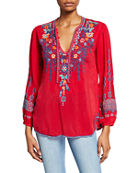 Johnny Was Chelsee Embroidered V-Neck Long-Sleeve Georgette