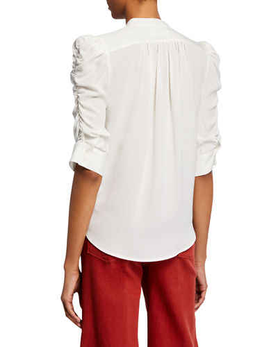 FRAME Shirred-Sleeve Button-Down Top