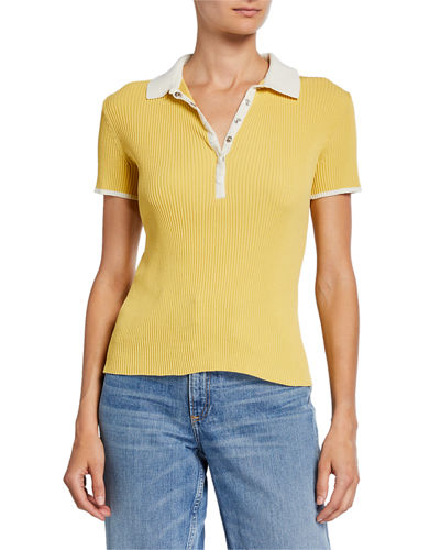 Libby Short-Sleeve Ribbed Polo Shirt