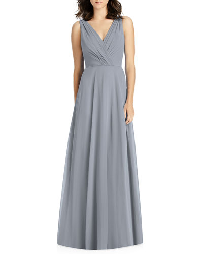 V-Neck Sleeveless A-Line Lux Chiffon Bridesmaid Gown