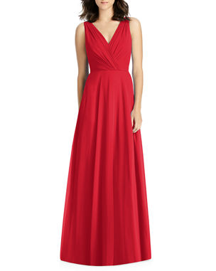 3c0e5adf6405 Jenny Packham V-Neck Sleeveless A-Line Lux Chiffon Bridesmaid Gown