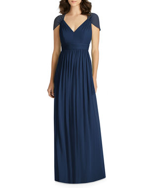 2ad7f3b5938 Jenny Packham V-Neck Cap-Sleeve Lux Chiffon Column Bridesmaid Gown w  Cutout