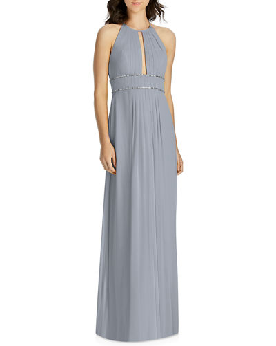 Lux Chiffon Halter Bridesmaid Gown with Beaded Trim