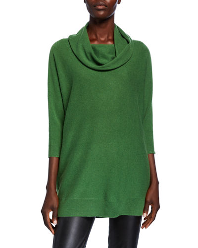 Cowl-Neck 3/4-Sleeve Cashmere Sweater