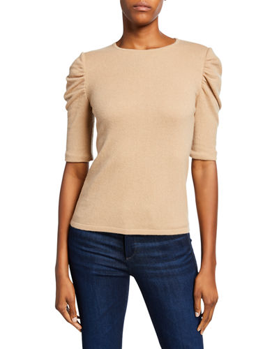 Crewneck Ruched Elbow-Sleeve Cashmere Sweater