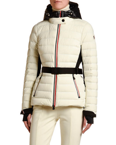 Channel-Quilt Tricolor-Zip Jacket w/ Belt