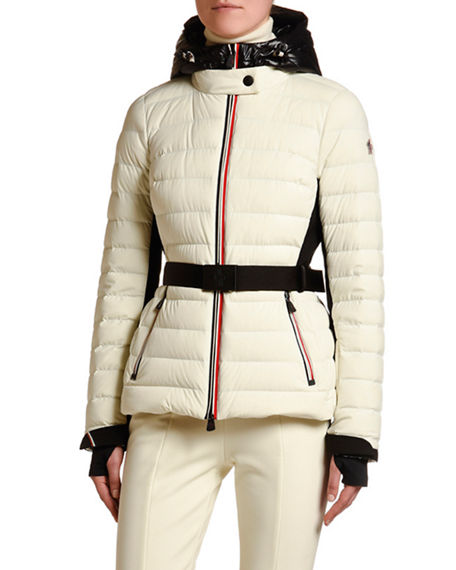 Moncler Grenoble Channel-Quilt Tricolor-Zip Jacket w/ Belt