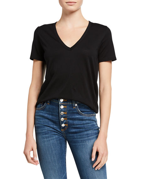 Veronica Beard Jeans Cindy V-Neck Short-Sleeve Tee