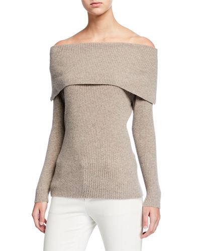 Cashmere Off-the-Shoulder Long-Sleeve Sweater