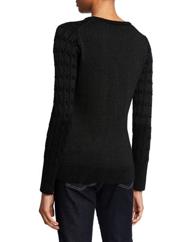 Neiman Marcus Cashmere Collection Metallic Cashmere Crewneck Cable Sweater
