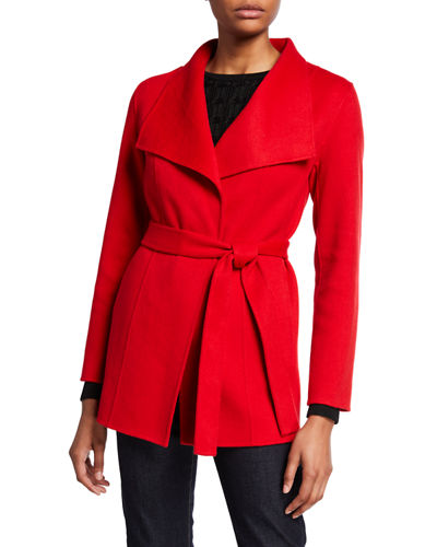 Double Face Cashmere Long-Sleeve Wrap Coat
